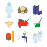 Icon set painter's equipments Stock Photo