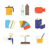 Icon set painter's equipments Royalty Free Stock Photography