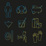 Icon set painter's equipments. Line icon set painter equipments as compressor, protective suit, paint mask, gun, hardener, lacquer, gloves, sandpaper, strainer Royalty Free Stock Image