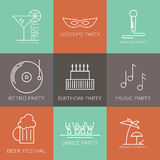 Icon set  of parties. Modern icon set of different kinds of parties. Costume party, karaoke party, retro party, birthday party, music party, dance party, beach Stock Image