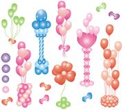 Icon set of balloons. Icon set of colorful party balloons Stock Photo