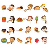 Icon Set of People Eating and Food vector illustration