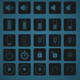 Icon set 3. 25 icon set for phone and pc Royalty Free Stock Image