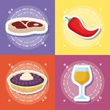 Picnic food design. Icon set of picnic food concept over colorful squares, vector illustration Royalty Free Stock Image