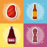 Picnic food design. Icon set of picnic food concept over colorful squares, vector illustration Royalty Free Stock Photos