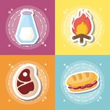 Picnic food design. Icon set of picnic food concept over colorful squares, vector illustration Royalty Free Stock Photography