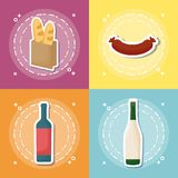 Picnic food design. Icon set of picnic food concept over colorful squares, vector illustration Stock Image