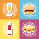 Picnic food design. Icon set of picnic food concept over colorful squares, vector illustration Stock Photography