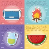 Picnic food design. Icon set of picnic food concept over colorful squares, vector illustration Royalty Free Stock Photo