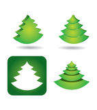 Icon set - pine tree. Icon set with abstract pine tree Vector Illustration