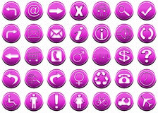Icon set pink 1 Stock Image