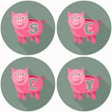 Icon Set With Pink Piggy Banks Stock Image