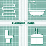 Icon set with plumbing on a plaid background. Isolated objects in the flat design Stock Image