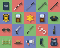 Icon set of police regimentals, uniform, weapons Royalty Free Stock Photography
