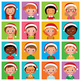 Icon set portraits of boys and girls in the Santa hat Royalty Free Stock Images