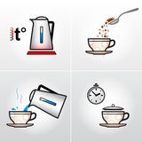 Icon set for process of brewing tea, coffee, etc. Royalty Free Stock Images