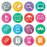 Icon set for professional training and elearning. Set of 16 round icons of professional training, online education, e learning, knowledge with long shadow on Royalty Free Stock Photo