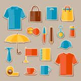 Icon set of promotional gifts and souvenirs Royalty Free Stock Photos
