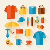 Icon set of promotional gifts and souvenirs Royalty Free Stock Image