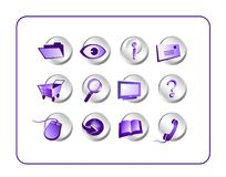 Icon Set Purple-Silver Stock Image