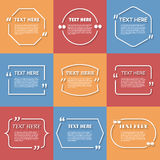 Icon Set of Quotation. Speech Bubble templates Royalty Free Stock Photography