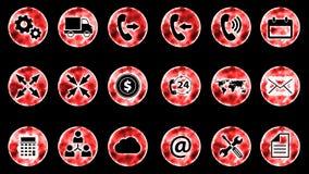 Icon Set 1 - Red Color Black Background. 4K Resolution royalty free illustration