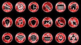 Icon Set 3 - Red Color Black Background. 4K Resolution stock illustration