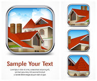 Icon set with red tile roof Stock Images