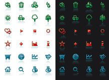 Icon set with reflection. On white and black background for web design Royalty Free Stock Photo