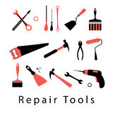 Icon set repair tools Stock Images