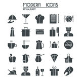 Icon set restaurant. Isolated silhouette on white background Royalty Free Stock Photo