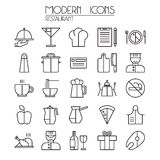 Icon set restaurant. In thin line style. Isolated on white background Stock Photo