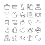 Icon set for restaurant in thin line style Stock Photos