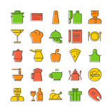 Icon set for restaurant in thin line style with shifted backgrou Royalty Free Stock Photo