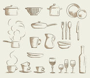Icon set retro cooking utensils. Hand drawn cartoon doodle vector illustration Stock Photos