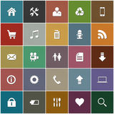 Icon set in retro style. The 25 most popular, general web icons on fine textured pastel colored square Stock Image