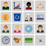 Icon set revenue/ Vector busnes/ Icons gray, square Royalty Free Stock Image