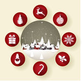 Icon set of round frames with Christmas in the winter Stock Photos