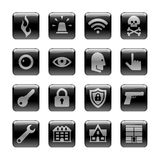 Icon Set on the Safeguard & Security Theme. 16 pictograms on black rounded glossy buttons Royalty Free Stock Photo