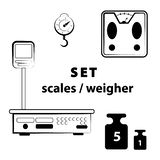 Icon set - scales, weighing, weight, balance vector illustration