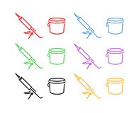 Icon Set of Sealer and Bucket Royalty Free Stock Photos