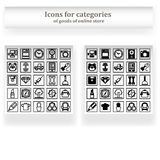 Icon set for sections Online Store. Icon set for web store sections. Two types of objects - icons shaded and only with a stroke. 25 symbols of each species Royalty Free Stock Photography