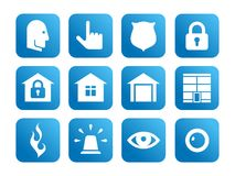 Icon set on the 'Security Activity' theme. Pictograms on the rounded square buttons stock illustration