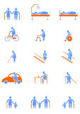 Icon set with seniors. 15 icons. Icon set with seniors in blue and orange royalty free illustration