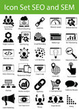 Icon Set SEO and SEM. With 30 icons for the creative use in graphic design Royalty Free Stock Photos