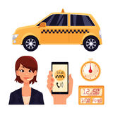 Icon set with the service taxi dispatcher and transport people in car Stock Photos