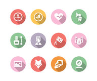 Icon set with shadow different household objects Royalty Free Stock Photo