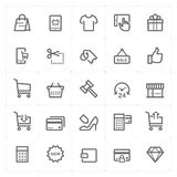 Icon set - shopping and commerce outline stroke Royalty Free Stock Photos