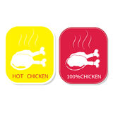 Icon set silhouette chicken grill with smoke vector Stock Photography