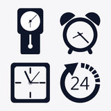 icon set of silhouette Clocks. Time design. Vector graphic Royalty Free Stock Photography
